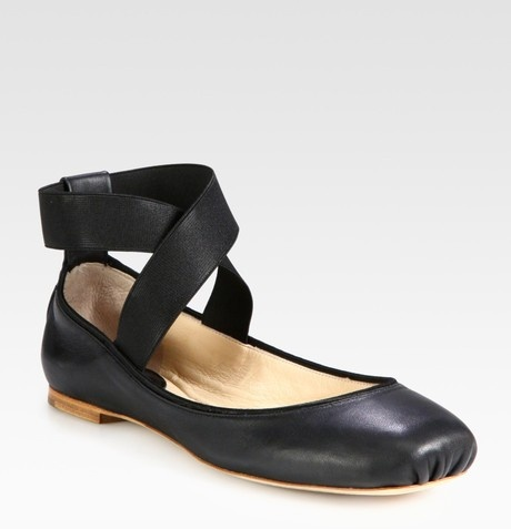 Chloé Leather Ballet Flats in Black - Lyst