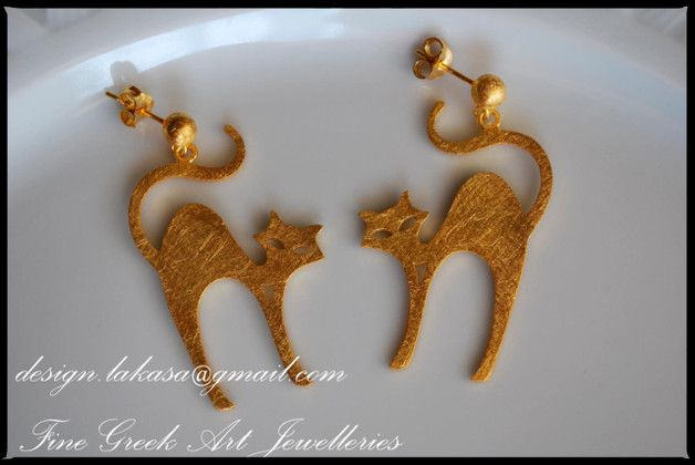 Silver Earrings – Cats Earrings Silver 925 Gold-Plated Jewelry – a unique product by Eleytheria on DaWanda