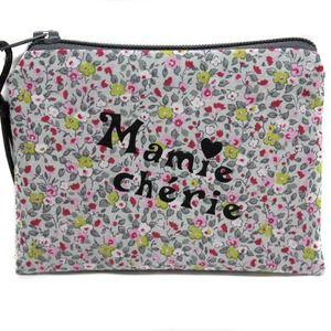 Cadeau mamie grand mère porte monnaie femme en tissu fleuri
