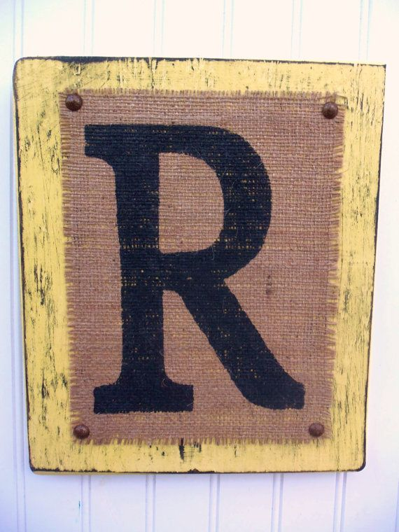 Burlap Distressed Wood Custom Sign Block letter R - Yellow or you choose color