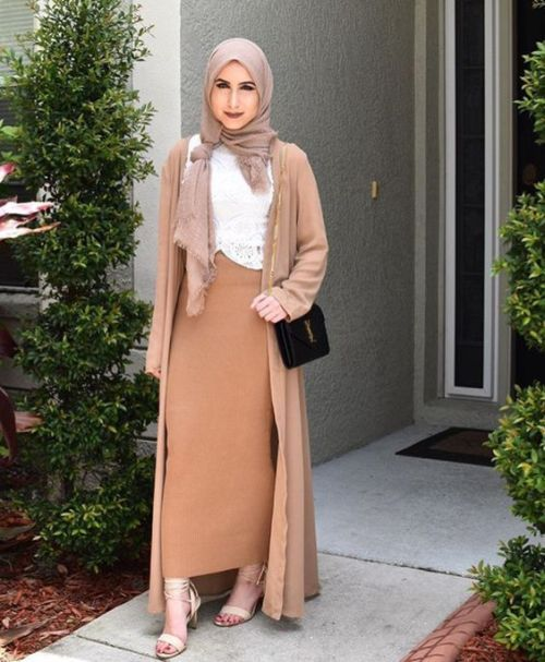 tan pencil skirt hijab look