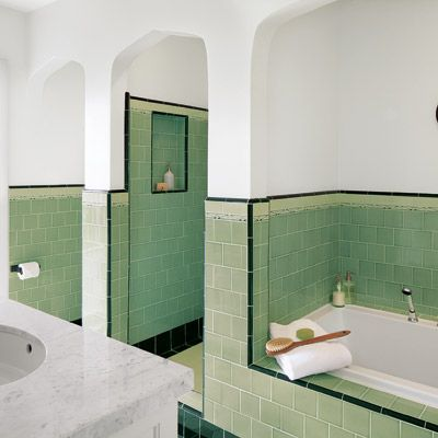 Art Deco bathrooms are one of the most enduring styles of the era. Black and white usually with this soft jade green. Hexagon and Subway tiles enjoyed their heyday! (By: The iconic Kelly Wearstler)