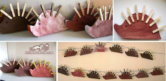schrijf een getal op de egel en laat de kinderen evenveel wasknijpers (stekels) aan de egel doen