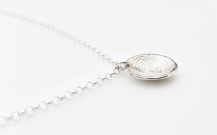 Sterling Silver Domed Fingerprint Charm Bracelet by RebeccaGeoffrey on Etsy