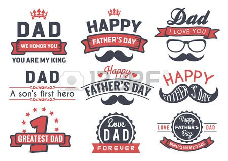 Happy Father's Day Badge Logo Vector Element Set In Retro Red.. Royalty Free Cliparts, Vectors, And Stock Illustration. Image 42816625.