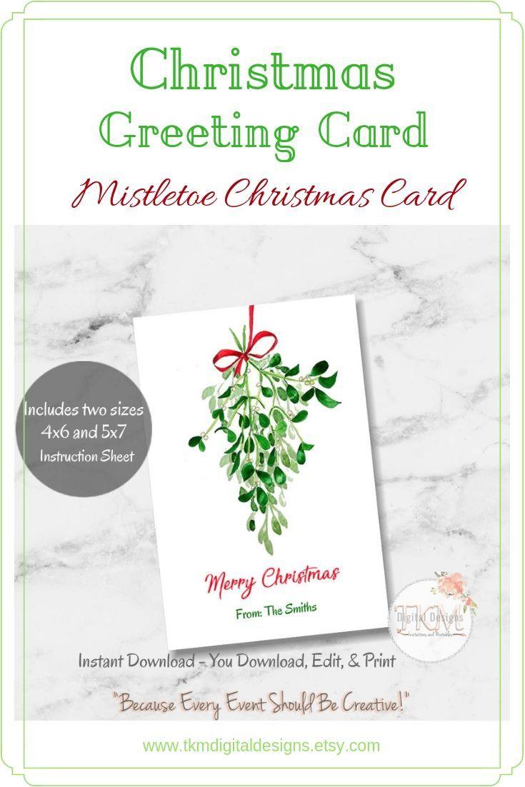 Mistletoe Card Mistletoe Christmas Cards Simple Christmas Etsy Christmas Greeting Card Template Simple Christmas Cards Simple Christmas Greetings