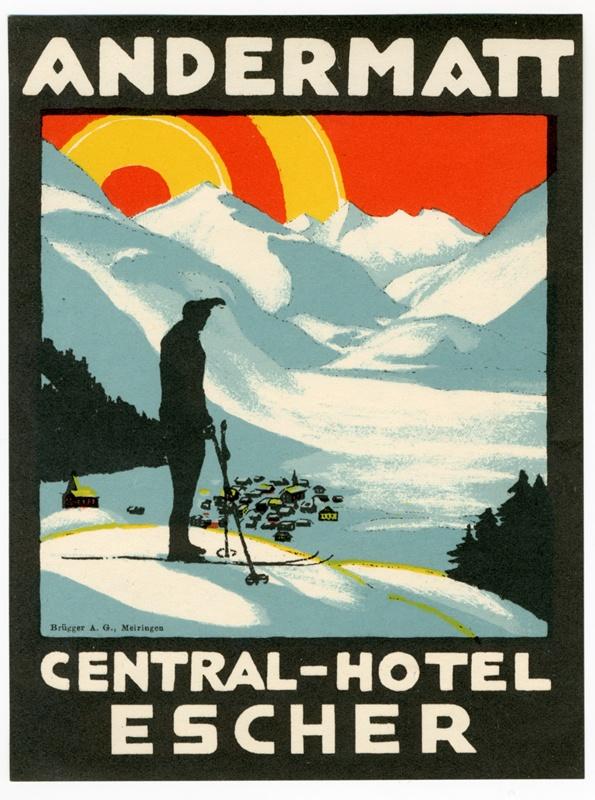 Central-Hotel Escher Andermatt (luggage #label), 1930 - Artist Unknown  #VintageTravel #WINTER