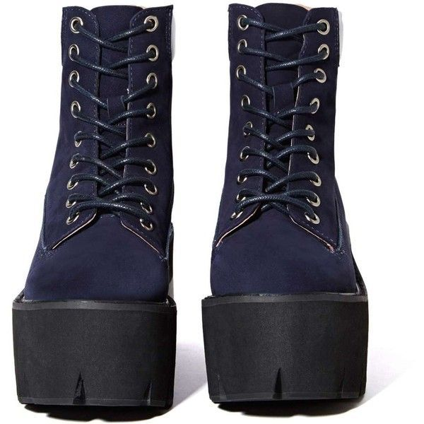 Jeffrey Campbell Nirvana Boot - Navy ($198) ❤ liked on Polyvore featuring shoes, boots, ankle booties, high heel platform boots, high heel booties, lace-up ankle booties, navy blue booties and platform booties