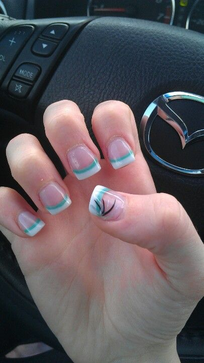 solar prom nails white tip with jade greenblue line and