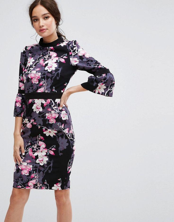 Paper Dolls Long Sleeve Pencil Dress in Floral Print - Multi
