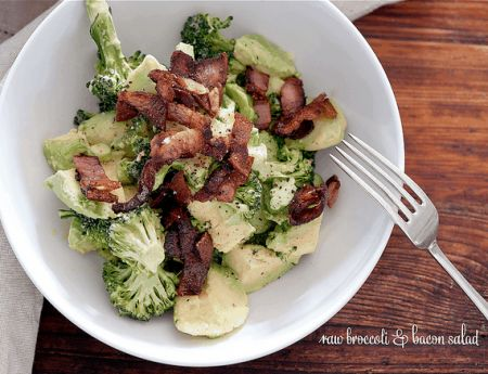 Raw Broccoli + Bacon Salad >> I Quit Sugar ~ We'd like to share this tasty dish by author Jules Clancy!