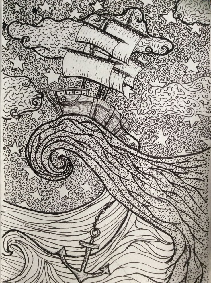 Intricate pen drawing of a ship at sea.