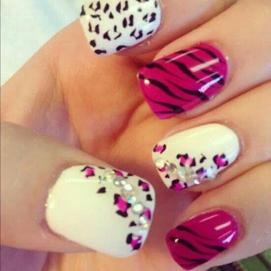 Hot pink zebra cheetah combo nails