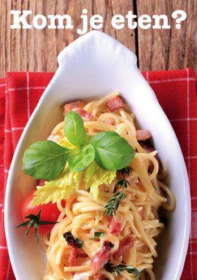 Op smulweb.nl is het mogelijk een kaartje te maken met een recept dat je naar iemand op kunt sturen en op die manier iemand uitnodigd om te komen eten. Een leuke manier voor een uitnodiging!
