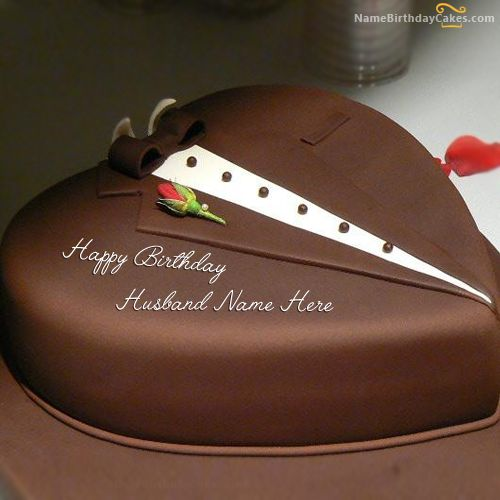 Write Name On Chocolate Heart Cake For Husband Happy