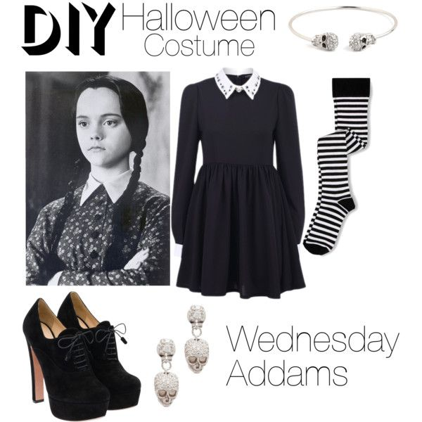 Wednesday Addams DIY Costume by patricia7 on Polyvore featuring polyvore, fashion, style, Keds, Prada, Tom Binns and BaubleBar