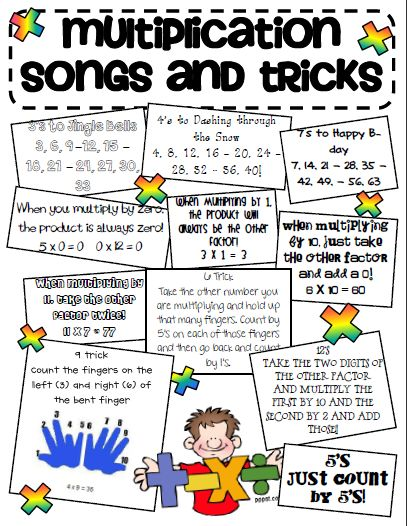 multiplication songs and tricks @ http://gingersnapstreatsforteachers.blogspot.com/2011/12/multiplication-tricks-sheet.html