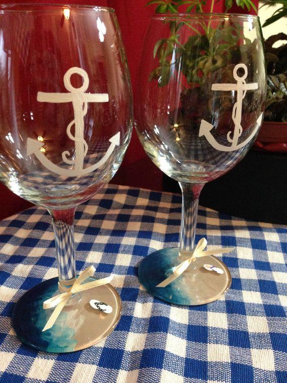 Mano pintada playa tema copas de vino 12 por HomeIsWhrTheHorrorIs