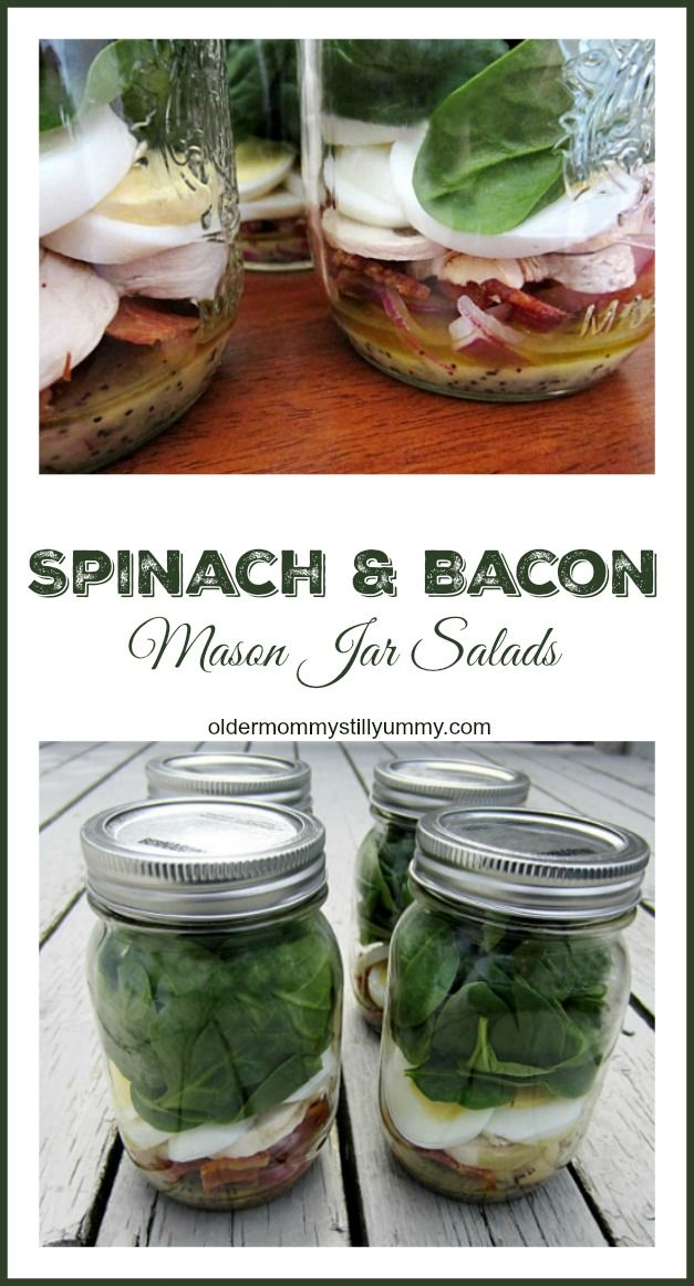 This Spinach and Bacon Mason Jar Salad w/Poppy Seed Dressing is a snap to assemble, easily made in advance, portable, and packed with a variety of yummy flavours and textures. http://oldermommystillyummy.com