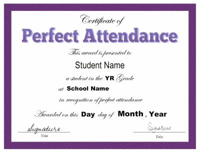 Award certificate template for perfect attendance at school Free - Free Printable Perfect Attendance Certificate
