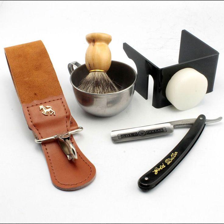 ZY 6pcs Men Shaving Kit Straight Razor Best BADGER Hair Shaving Brush Stand Genuine Leather Strop Shaving Soap Bowl