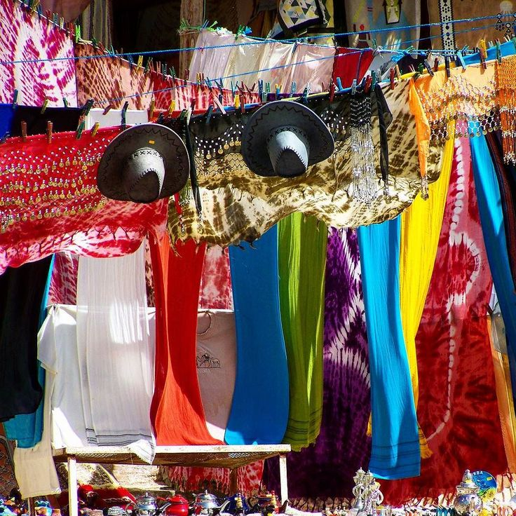 Hats  and scarves for sale in Tamerza the largest mountain oasis in Tunisia.