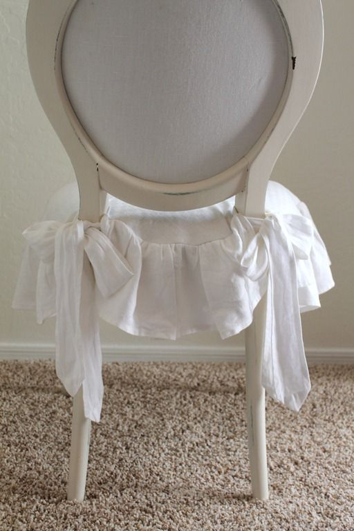 Soft Ruffle Chair Seat Slipcover With Bows Dining Room CoversChair