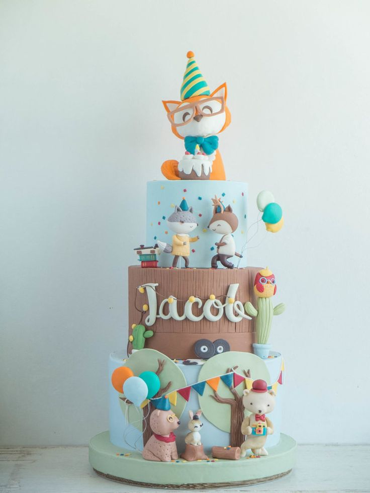 Hipster Animals Cake  Cottontail Cake Studio