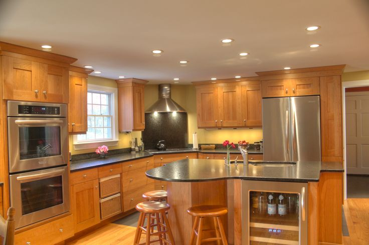 Transitional Kitchen- stainless steel appliances, double ...