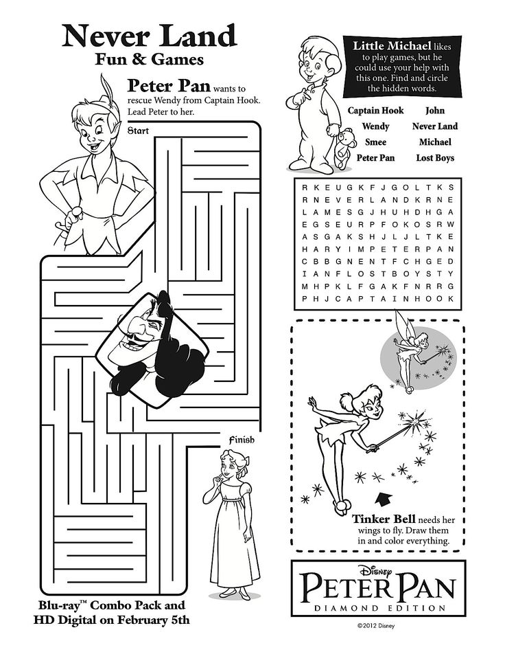 Peter Pan's 'Never Grow Up' Printable Games: Celebrating The Peter Pan Diamond Blu-Ray Release