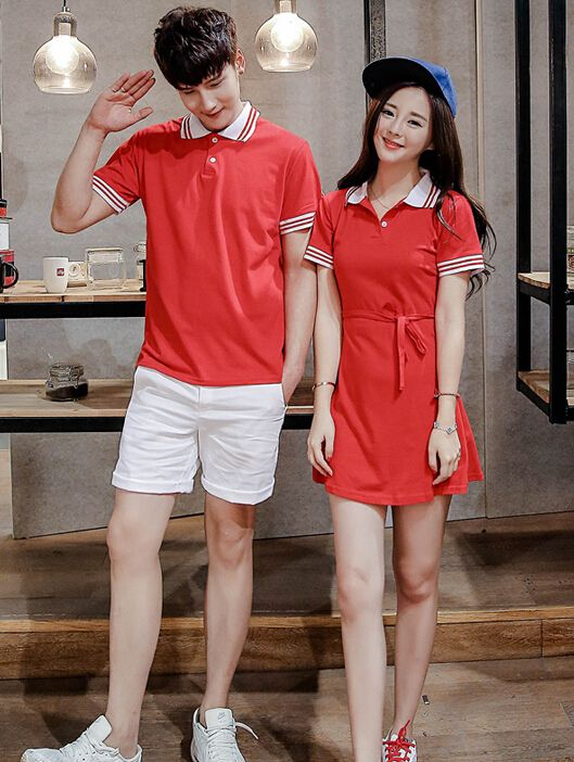 Korean Style College Striped Solid Color Couple Tops