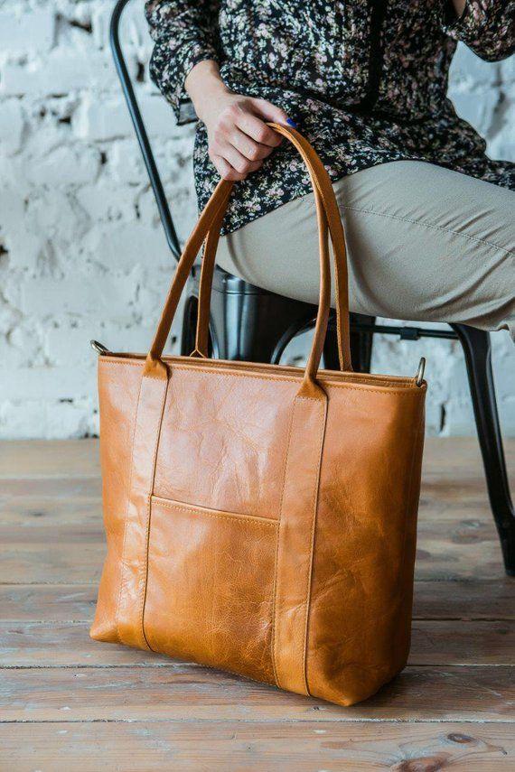 Large Leather tote bag for women with pockets light brown tan color long handles ladies purse cognac women laptop bag