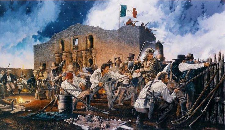 For God and Texas by Richard Luce ~ Davy Crockett y los voluntarios de Tennessee, defendiendo el Alamo