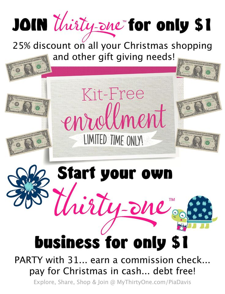 KIT-FREE Enrollment... Starting August 1st, for a limited time... Thirty-One is offering a special enrollment opportunity. For ONLY $1, you can join 31 and start your own Thirty-One  business. Imagine purchasing all your Christmas gifts from YOURSELF this year! Explore, Share, Shop & JOIN @ MyThirtyOne.com/PiaDavis or select your 31 consultant in the upper right corner of MyThirtyOne.com.