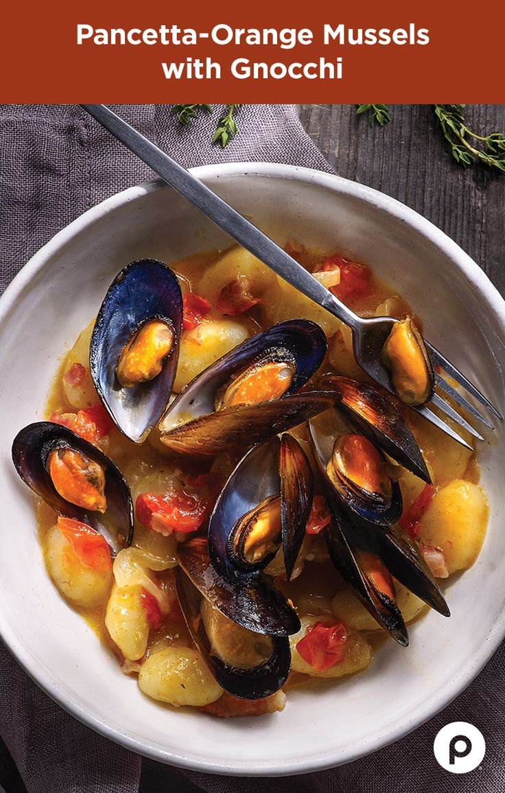 """Looking for an easy meal or an impressive appetizer? The Pancetta-Orange Mussels with Gnocchi is a simple Publix Aprons dish that can turn anyone with a sauce pan, sweet onions, grape tomatoes, and gnocchi pasta into a professional chef. You're only three steps and 20 minutes away from making your family, or guests, say """"Wow!"""""""