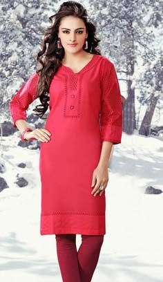 Indian Fashionable Red Cotton Kurti Best For Online Shopping