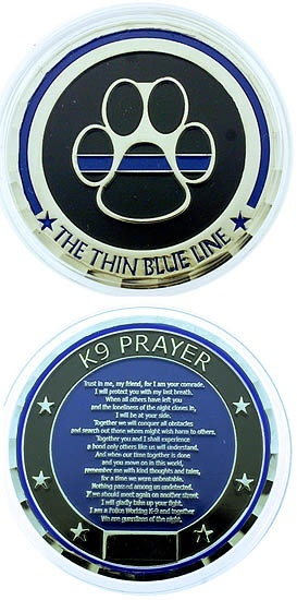 Service Honor Integrity Courage K 9 Prayer Challenge Coin Coins Blue Line And Challenges