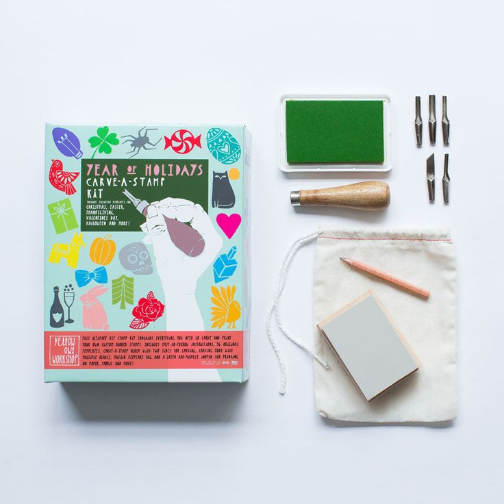 Year of Holidays Carve-A-Stamp Kit. Everything you need to make your own stamp set