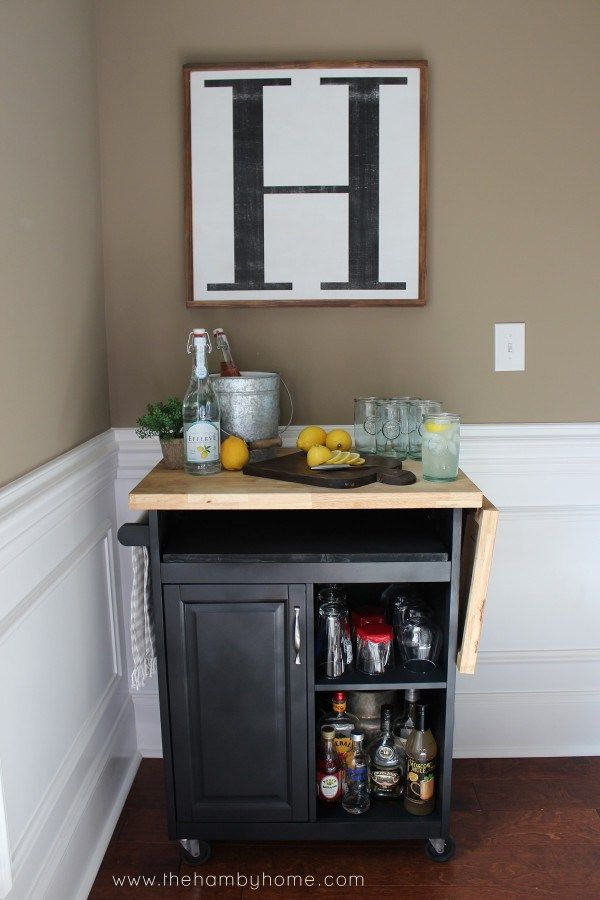 microwave butcher block cart turned into a bar cart