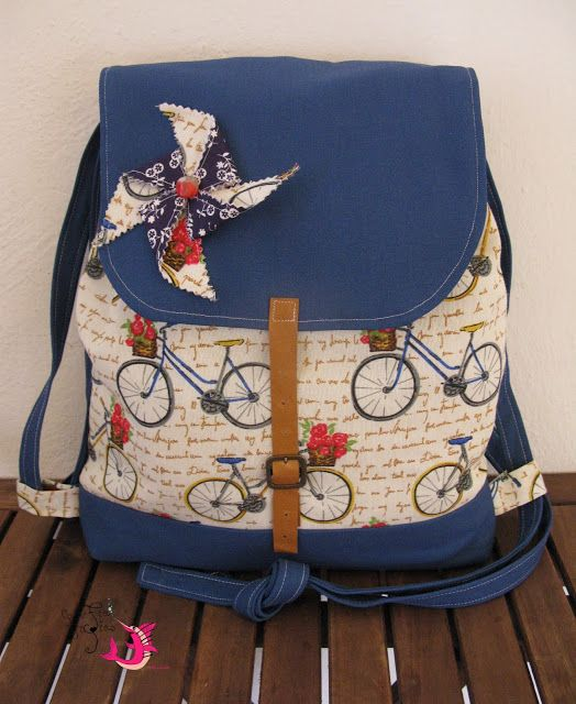 handmade backpack #handmade#unique#vintage#pinwheel#bicycles