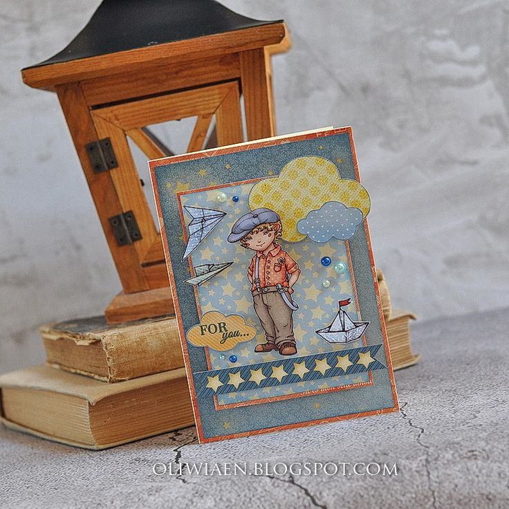 ScrapBerry's: Sweetheart papers and stamp Boats & Balloons, card by Maja Nowak