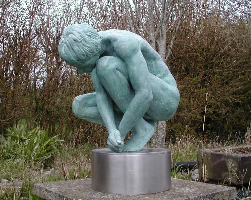Narcissus Statues by John McKenna A4A art for architecture. Bronze 1/2 life-size figures.