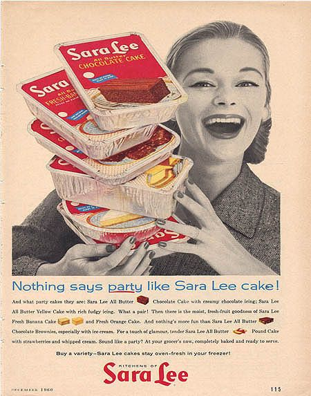 Vintage ad from 1960 for Sara Lee cakes