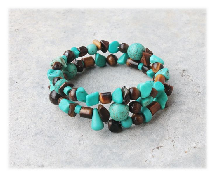 Beaded Wrap Bracelet / Armlet with Turquoise & Tiger's Eye by Malatichan on Etsy