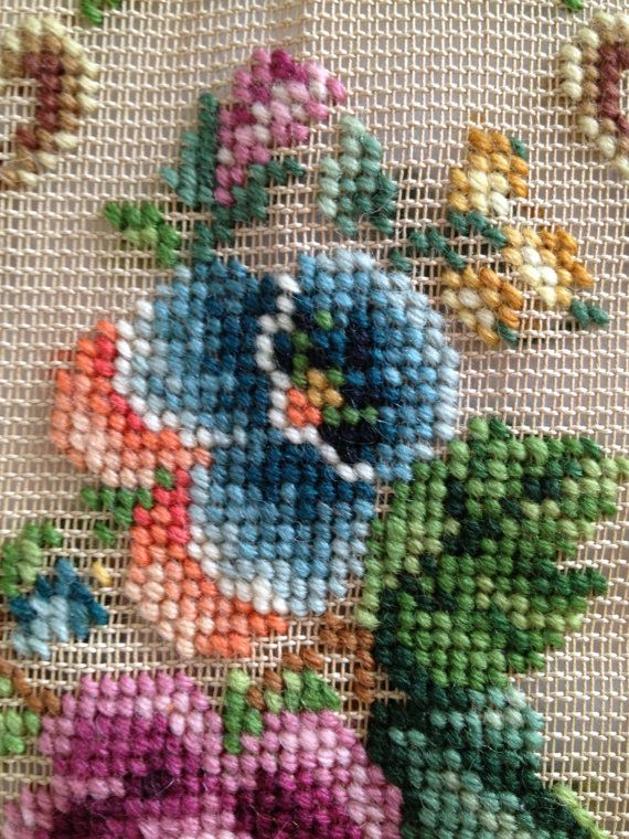 Vintage Bucilla Floral Needlepoint Preworked One piece of unfinished floral needlepoint canvas    Looks like the only part that needs