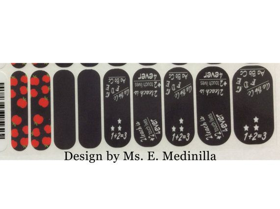 Chalkboard Teacher Nail Wraps Black and white Chalkboard Nail Art by MisManos