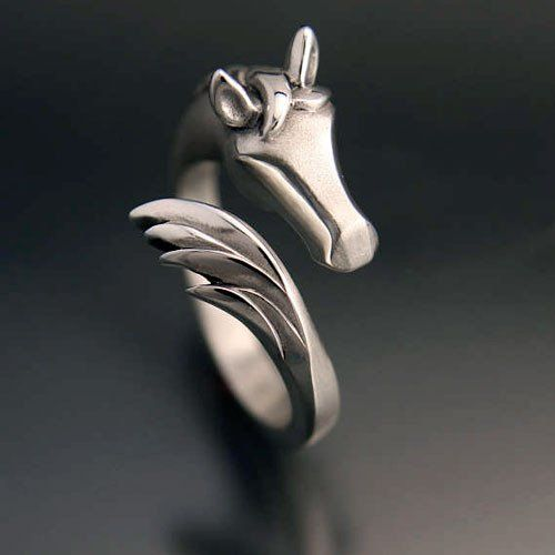 Horse Head and Tail Ring in Sterling Silver