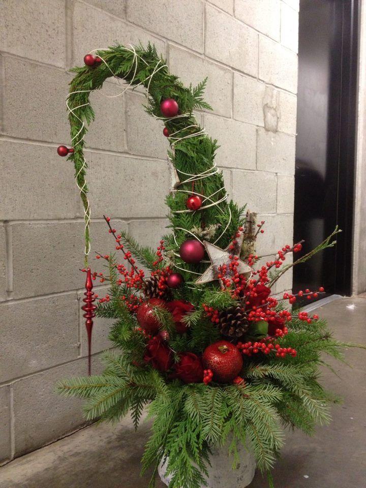 Deko Eingang Haustür Bäumchen Weihnachten