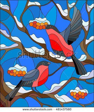 Illustration in stained glass style with a pair of bullfinches, on the background of snow-covered mountain ash tree