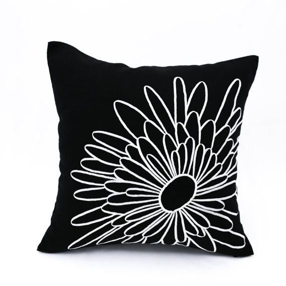 black white pillow cover black linen white flower embroidery decorative pillow floral couch pillow flower cushion floral bedding